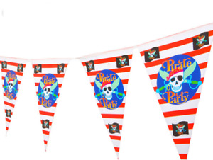 New 10pcs Pirates Theme Birthday Party Flag Hanging Banner Decoration Bunting UK