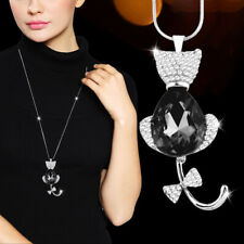 Cute Gray Glass Rhinestone Bow Tail Cat Pendant Long Necklace For Women My416