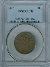 1847 PCGS CERTIFIED LIBERTY HEAD BRAIDED HAIR LARGE CENT PCGS AU-50