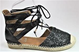 WOMENS NEW BLACK GLITTER STRAPPY LACE TIE UP SANDAL FLATS HEELS SIZE 3-8