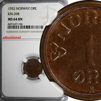 Norway Haakon VII Bronze 1952 1 Ore NGC MS64 BN TOP GRADED BY NGC KM# 398