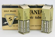 NOS SYLVANIA GOLD-BRAND 6201 ECC801S 12AT7 GOLDPIN BLACKPLATE MATCHED PAIR TUBES
