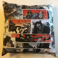 NEW THE WALKING DEAD TV GAME WOMAN & SWORD ZOMBIE COMPLETE 15X15 THROW PILLOW