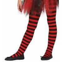 Girls Red & Black Stripe Tights Witch Devil Halloween Fancy Dress Age 5-9