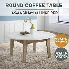 MEYA Round Coffee Table Scandinavian WHITE Oak Modern Furniture