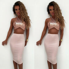 Women Lady Party Cocktail Club Bodycon Two-piece Short Dress Set Crop Tops Skirt