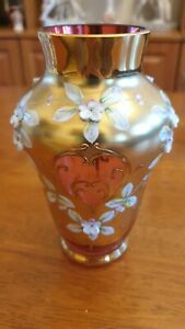 Bohemia kristall vase vergoldet