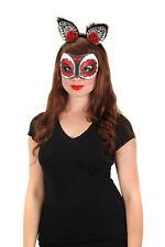 Day of the Dead Sugar Skull Cat Glitter Mask Costume Accessory DiaDe Los Muertos