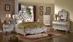 McFerran B8305-Eastern K Antique White Tufted bonded leather Headboard 4 PC Set