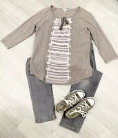 Fat Face Stitched Embroided Top Grey Mix Sz 12 Fashion 3/4 Sleeves