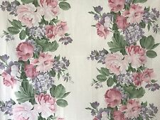 EUC! vtg TWIN FLAT Sheet Cottage Rose Floral Bough Pastel Fabric Percale