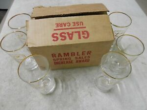 AMC RAMBLER Sales Award Drink Glasses, 1962/69 Rambler, NOS