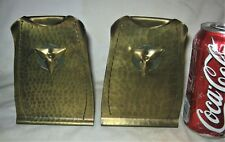 Antique Hammered Brass Copper Us Roycroft Trefoil Arts Crafts Bookends Book Ends