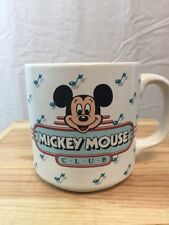 Vintage Mickey Mouse Club Coffee Mug Musical Notes Disney Large Ceramic 10 Oz.