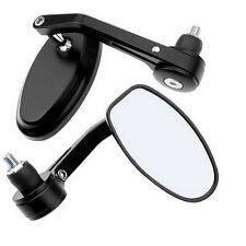 """7/8"""" 22MM Fahrrad Motorrad Spiegel oval schwarz Stahlstiel 1Paar rechts und link"""