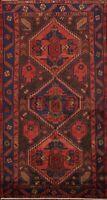 Geometric Semi Antique Hamedan Hand-knotted Area Rug Wool Oriental Carpet 4'x7'