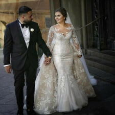 White/Ivory Mermaid Lace Tulle Wedding Dress Detachable Train Custom Bridal Gown