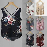Fashion Women Floral Casual Sleeveless Crop Top Vest Tank Shirt Blouse Cami Top