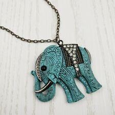 Elephant Pendent Necklace Faux Turquoise Plastic Rhinestone Gunmetal Silver Tone