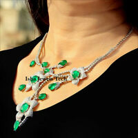 Handmade Natural Diamond & Green Onyx Gold & Sterling Silver Necklace Jewelry