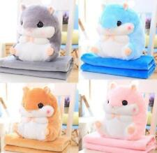 Hamster Pillow With Fleece Blanket Plush Toys Animal Doll Xmas Gift Home Decor