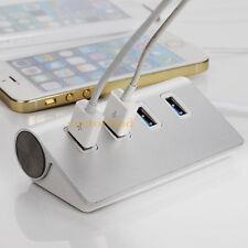 Portable 4Port Aluminum USB 3.0 Hub Power Adapter for Apple Mac Air PC Laptop GT