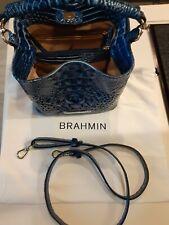 Brahmin Mini Amelia Bluebonnet Melbourne Leather Bucket Crossbody