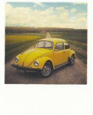 Ansichtskarte: gelber VW-Käfer - yellow VW-beetle car - Vintage car - Pola Card
