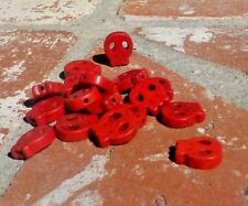 DAY OF THE DEAD SET OF 16 RED SKULL S HAND CARVED BEAD PENDANT W/ FREE SHIPPING