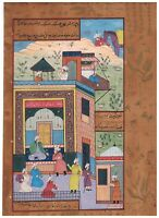 Indian Miniature Painting Of Mughal Court Scene - Persian Style Art On Paper