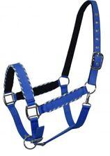 Showman BLUE Nylon Neoprene Lined Horse Halter w/ Rope Border Design!! NEW TACK!