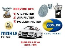FOR AUDI A5 3.2i V6 24v 2007-->ON NEW OIL AIR POLLEN FILTER SERVICE KIT