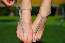 Barefoot Crystal Beach Sandals Bridal/ Wedding Diamante Anklet Foot Jewelry 2PCS