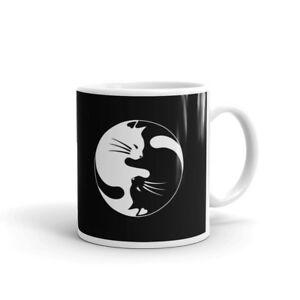 Yin Yang Cat Shaolin Symbol Coffee Tea Ceramic Mug Office Work Cup Gift