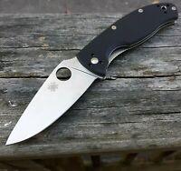 "Spyderco Tenacious Folding Knife 3.38"" 8Cr13MoV Steel Blade Black G10 Handle"