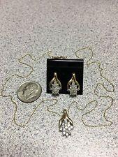 "10K Gold 32 Diamond Necklace Pendant 18.5"" Chain & Earring Jewelry set 1/2ct"
