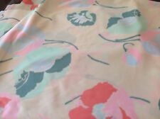 """Material Cream Pink Orange Blue Green Flowers Leaves Polyester Blend 64"""" 3 Yards"""