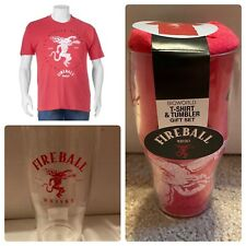 Mens Fireball Whisky Red T-shirt and Tumbler Gift Set Tee Shirt Pint Cup Large