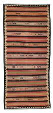 4x10 Handmade Brown Striped Turkish Vintage Multi Color Wool Alfombras Area Rug