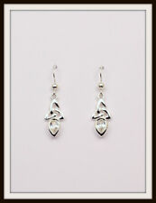 APRIL ~ DIAMOND ~ CELTIC STERLING SILVER BIRTHSTONE EARRINGS ~ FREE P&P