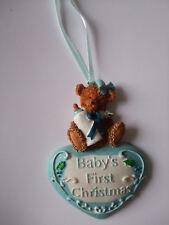 Baby Boy's 1st Christmas Tree Ornament / Keepsake / Bear and Heart Blue