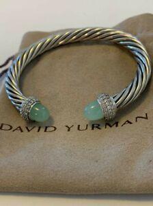 David Yurman Candy 7mm Sterling Silver Bracelet Chalcedony & Diamond M