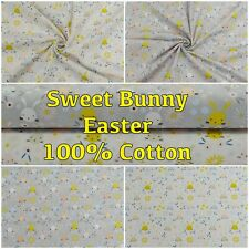 Easter Spring Cotton Sweet Bunny Rabbits Floral Dressmaking Craft Fabric 148cm