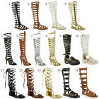 LADIES WOMENS KNEE HIGH GLADIATOR SANDALS STRAPPY BEACH SHOES CUT OUT BOOTS SIZE