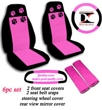 6 Piece Set Jeep Wrangler Paw Prints Seat Covers in Hot Pink & Black