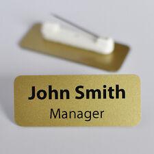 Set Of 10 Personalised Name Badges. PVC. Metallic Gold Colour.
