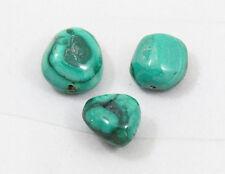 Natural MALACHITE nugget bead / strand 14mm(w) x 16mm(l) - 3 beads