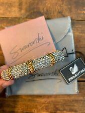 Swarovski Crystal Bracelet Cuff Gold Hinged Fashion Authentic Swan Signed Vtg
