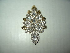 Vintage Signed JR? (Joan Rivers) Goldtone & Clear Rhinestone Sparkly Brooch Pin