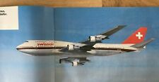 SWISSAIR AIRLINES 1987 PROFILE SERVICES BROCHURE 1987 DC10 B747 ROUTE MAP MD80